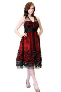 Women's Red & Black Textured Lace Halter Cocktail Dress Prom Party Gown Cocktail Dresses Evening