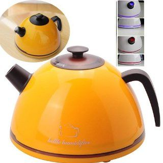 SS 801 Creative Kettle Shaped Supersonic Anion Air Humidifier with Colorful LED Light   Yellow   Single Room Humidifiers