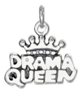 "Sterling Silver ""Drama Queen"" Charm Bead Charms Jewelry"