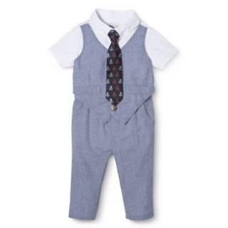 G Cutee Newborn Boys Short Sleeve Solid Romper   Chambray 0 3 M
