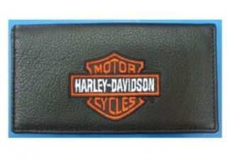 Harley Davidson Black Leather Checkbook Cover. Orange/White Embroidered FC806H 2 Clothing