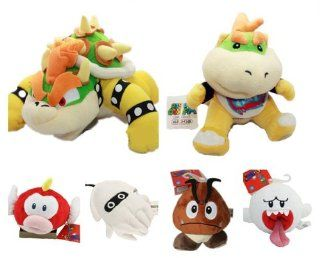6pcs Super Mario Plush Goomba Boo Ghost Cheepap Blooper King Bowser Koopa SON Jr Toys & Games