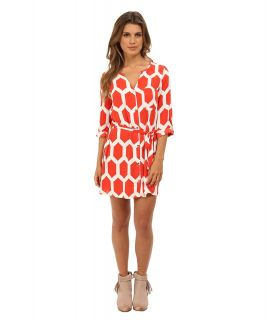 Gabriella Rocha Long Sleeve Print Dress w/ Belt Womens Dress (Red)