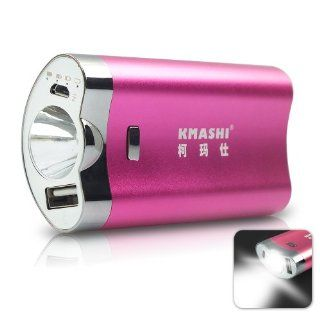 KMAX 812 4400mAh Rechargeable Backup External Battery Pack Charger Power Bank w/built in 2.5Watt LED Torch Flashlight for iPhone 5 4S 4 3GS 3G 5C, all iPhone, iPad 1/2/3/4 Mini Air, iPod Touch models; Android Smart phones Samsung Galaxy S5 i9600/S4/S3/S2