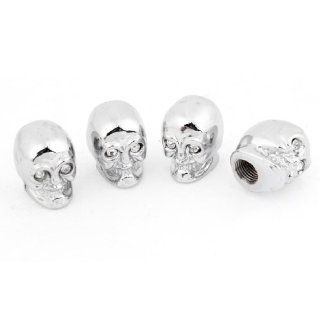 Car Metal Skull Head Shaped Tire Valve Stem Cap Cover Silver Tone Clear x 4 Automotive