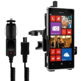 Car vent mount for Nokia Lumia 925 with perfectly fitting shell + charger   Turn you mobile phone into a navigation device Cell Phones & Accessories