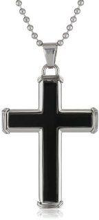 Men's Stainless Steel with Resin Inlay Ball Chain Cross Pendant Necklace Jewelry