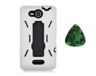 For LG OPTIMUS EXCEED VS840PP / LUCID 4G VS840 Kickstand Hybrid Hard Phone Cover Case   White / Black + Free Green Stone Pry Tool Cell Phones & Accessories