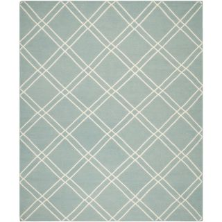 Safavieh Hand woven Moroccan Dhurrie Light Blue/ Ivory Contemporary Wool Rug (5 X 8)