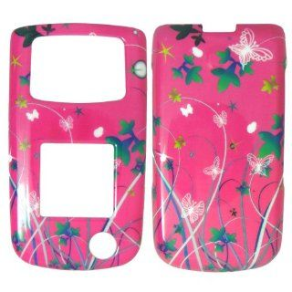 Samsung Rugby 2 A847 AT&T   Butterfly, Flowers & Stars on Pink Shinny Gloss Finish Hard Plastic Cover, Case, Easy Snap On, Faceplate. Cell Phones & Accessories