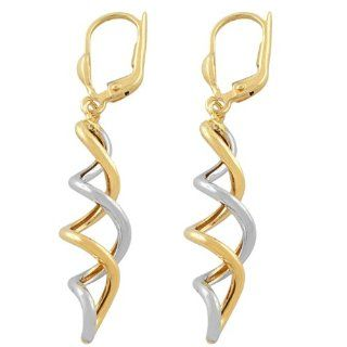 14 Karat Two Tone Gold Spiral Leverback Earrings Jewelry