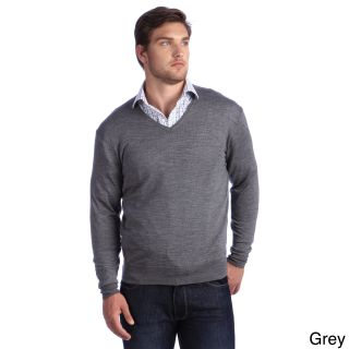 Luigi Baldo Luigi Baldo Italian Made Mens Fine Gauge Merino V neck Sweater Grey Size 3XL