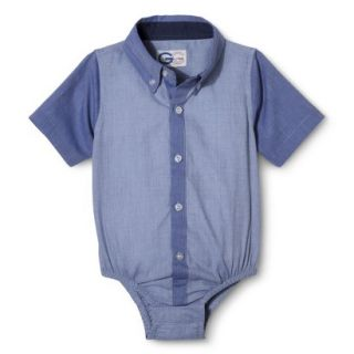 G Cutee Newborn Boys Short Sleeve Button Down Shirtzie   Chambray 18 M