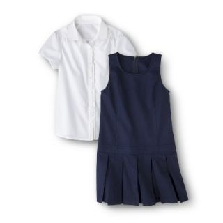 Cherokee Girls School Uniform Short Sleeve Blouse and Jumper Set   Navy 4