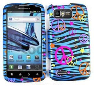 For Motorola Atrix 2 MB865 Case Cover   Peace Signs Blue Zebra Stars Rubberized Pink Yellow Orange Purple TE321 S Cell Phones & Accessories