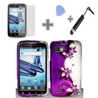 Rubberized Purple Silver Vines flower Snap on Design Case Hard Case Skin Cover Faceplate for Motorola Atrix 2 MB865 (AT&T) (4 Items Combo  Case   Screen Protector Film   Case Opener   Stylus Pen) Cell Phones & Accessories