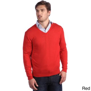 Luigi Baldo Luigi Baldo Italian Made Mens Fine Gauge Merino V neck Sweater Red Size S