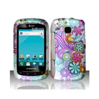 Purple Blue Flower Hard Cover Case for Samsung DoubleTime SGH I857 Cell Phones & Accessories