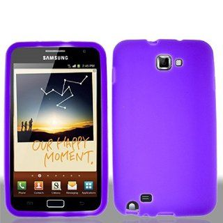 Purple Soft Silicone Gel Skin Cover Case for Samsung Galaxy Note N7000 SGH I717 SGH T879 Cell Phones & Accessories