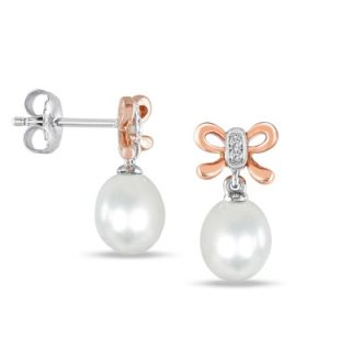 0mm Cultured Freshwater Pearl and Diamond Accent Bow Earrings in