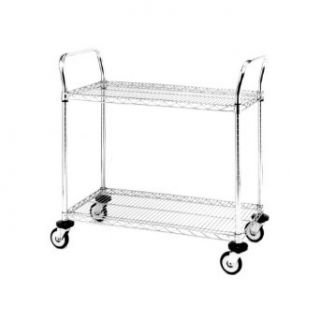 "Metro MW Series Chrome Plated Wire Utility Cart, 375 lbs Capacity, 30"" Length x 18"" Width x 38"" Height, 2 Shelves"