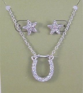 Stunning New Lucky Horsehoe & Star Crystal Necklace & Earring Set Jewelry