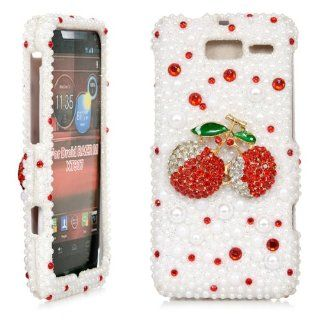 iSee Case Bling Crystal Diamond Rhinestone Hard Full Cover Case for Verizon Motorola Droid Razr M XT907 Razr i XT 890(XT907 3D Red Cherry White Pearl) Cell Phones & Accessories