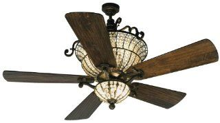"Craftmade K10659 Cortana Indoor Ceiling Fan with Five 54"" Premier Hand Scraped Walnut Blades and, Peruvian"
