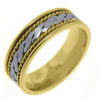 14K Two Tone Gold Men's Wedding Band 7mm Braided TheJewelryMaster Jewelry