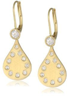"Zaiken Jewelry ""Drops of Love Collection"" 14K Satin Yellow Gold Diamond Drop Earrings Jewelry"