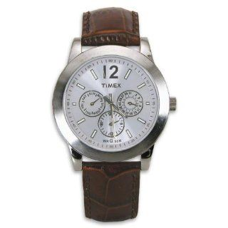 Timex Women's Classic Silver Dial Day & Date Brown Leather Dress Watch T2M880 Watches
