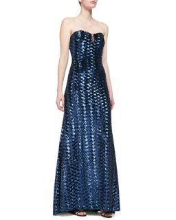 Womens Strapless Sequin Gown with Mesh Accent Bodice, Navy   Badgley Mischka