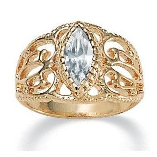 PalmBeach Jewelry Marquise Cut Birthstone 14k Yellow Gold Plated Filigree Ring  April Jewelry