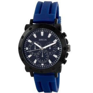 "Breda Men's 8136 blue ""Tripp"" Bold Textured Bezel Silicone Band Watch Watches"