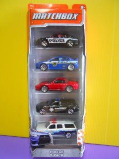 2012 Matchbox Police 5 Pack Ford Police Interceptor / Mitsubishi Lancer Evolution X Police / Porsche 911 Turbo / Dodge Magnum / 2000 Chevrolet Suburban Toys & Games