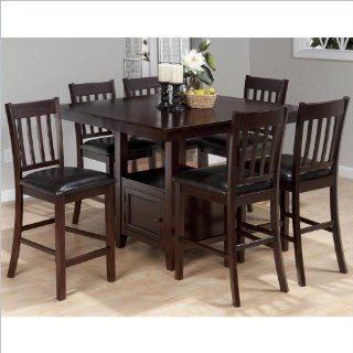 Jofran 7 Piece Counter Height Slat Back Dining Set in Tessa Chianti Home & Kitchen