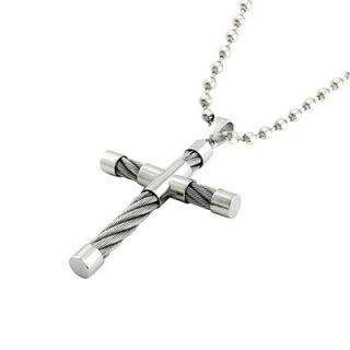 Mens Stainless Steel Cable Cross Pendant   Zales