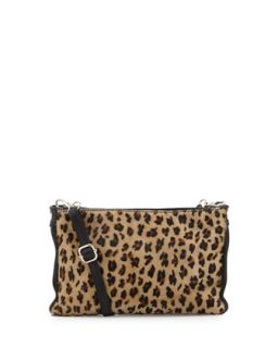 Leopard Print Calf Hair Italian Leather Crossbody Bag