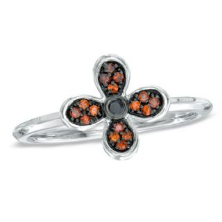 10 CT. T.W. Enhanced Black and Red Diamond Stackable Flower Ring in