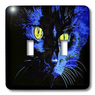 3dRose LLC lsp_46774_2 Marley at Midnight, Black, Cat, Domestic Cat, Long Haired Cat, Marley, Pet, Halloween, Double Toggle Switch   Switch And Outlet Plates