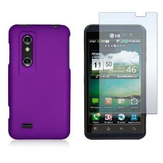 LG Optimus 3D P920/Thrill P925   Purple Silicone Rubber Gel Soft Skin Case Cover + Clear LCD Screen Protector Cell Phones & Accessories