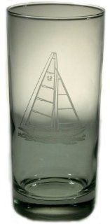 Sailboat Cooler Glasses 15oz Set of 4 Gift Box Nautical Tropical Home Decor Kitchen & Dining