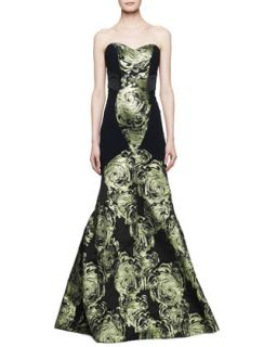 Womens Strapless Mermaid Gown with Large Rose Print, Black/Absinthe   Theia by
