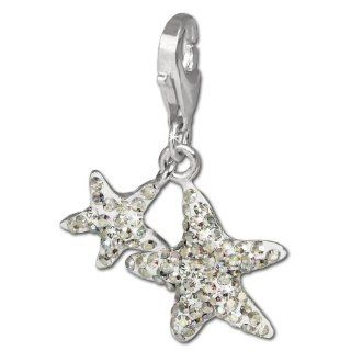 SilberDream Glitter Charm Swarowski Elements starfish AURORA, 925 Sterling Silver Charms Pendant with Lobster Clasp for Charms Bracelet, Necklace or Earring GSC102 SilberDream Jewelry