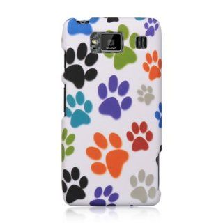 "VMG 2 Item Combo Cell Phone Case Cover For Motorola Droid RAZR MAXX HD XT926M Image Design   White Multi Colored Dog Paws Pawprint Hard 2 Pc Plastic Snap On Protective Case + LCD Clear Screen Saver Protector [by VANMOBILEGEAR] *** For ""RAZR MAXX HD&qu"