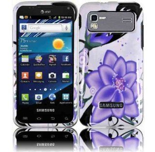 White Purple Flower Hard Cover Case for Samsung Captivate Glide SGH I927 Cell Phones & Accessories
