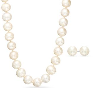 0mm Cultured Freshwater Pearl Strand Necklace and Earrings Set