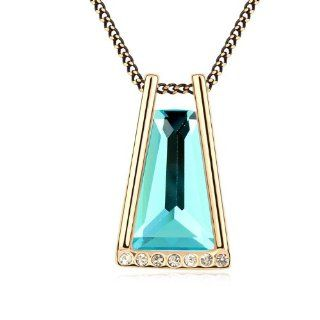 KStyle Jewelry Blue Swarovski Crystal Ladies Women Gold Colour Pendant Necklace SE9901 Jewelry