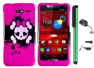 "Pink Black Heart Love Eye Cute Skull Premium Design Protector Hard Cover Case for Motorola DROID RAZR M XT907 (Verizon) + Luxmo Brand Travel (Wall) Charger & Car Charger + Combination 1 of New Metal Stylus Touch Screen Pen (4"" Height, Random Color"