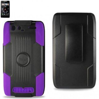 Reiko RKSLCPC09 MOTXT912BKPP Premium Durable Protective Case for Motorola Droid Razr XT912 with Kickstand   1 Pack   Retail Packaging   Black/Purple Cell Phones & Accessories
